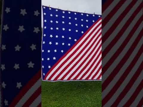 Star Spangled Banner Inspired C2C Crochet Blanket, Afghan. Red White And Blue USA Flag.