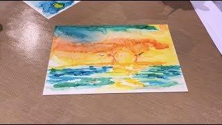Sonnenuntergang Alkohol Tinte Malerei mit Sharen AK Harris - Creativation 2018