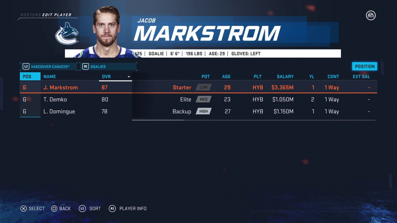 Nhl 20 Vancouver Canucks Goalies Roster All Goalies Ratings Positions Ages Colleges Countrie Stats Youtube