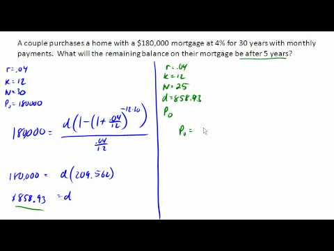 calculate remaining balance on a mortgage youtube