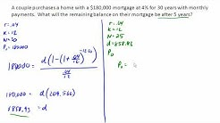 Calculate remaining balance on a mortgage