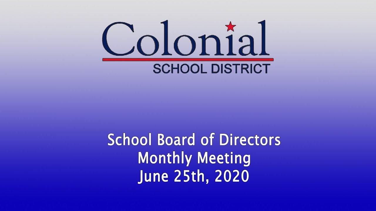 June School Board Meeting - 6/25/2020