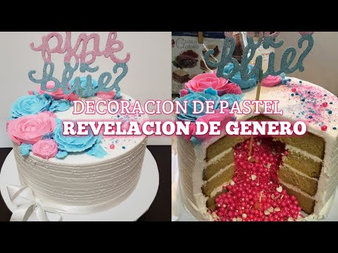 Gender Reveal Cake Pastel Revelacion De Género Con Sprinkles Adentro