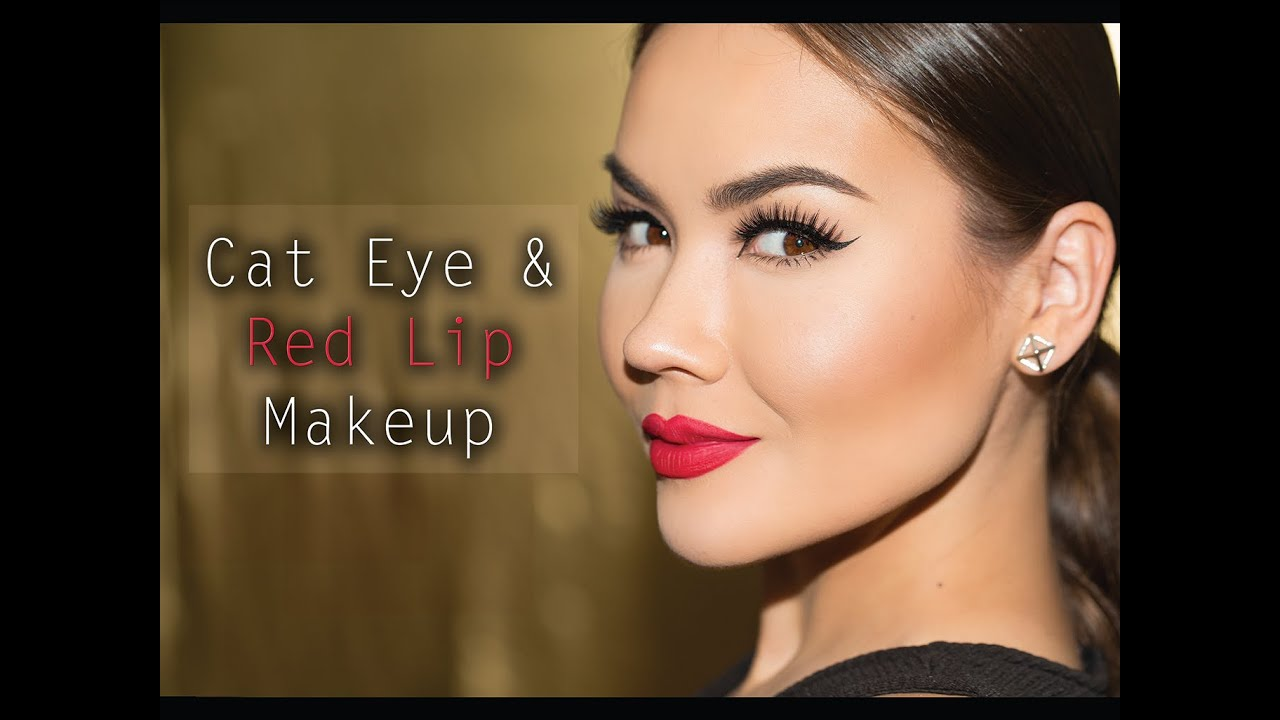 Cat eye lips red makeup pictures fotos