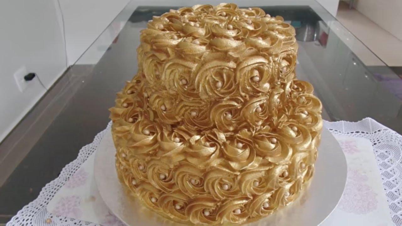 Tier Golden Cake Golden Flowers Cake
