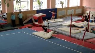 Unzhakova Anastasiya Vault.  Gymnastics level 8. Анастасия Унжакова прыжок