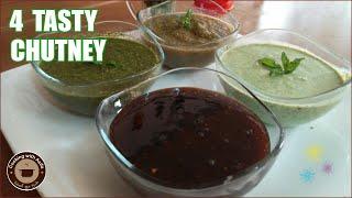 Tamarind chutney -Hari dhaniya chatni-Pudina chutney-Dahi chutney recipe-4tasty chutney-