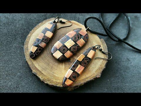 DIY Earrings & Pendant made of Cinnamon Stiks, Plum Wood, Epoxy Resin