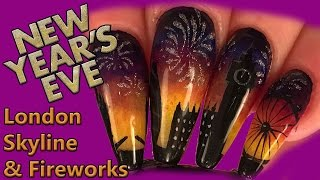 Nail Art - New Years Eve London Skyline & Fireworks Design - Sculpted Acrylic  and Hand Painted