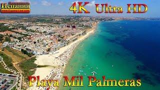 Испания, пляж Mil Palmeras & Rocamar Beach, дрон Dji Phantom 4К видео, Pueblo Latino