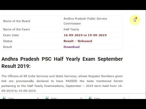 Andhra Pradesh PSC Half Yearly Exam September Result 2019