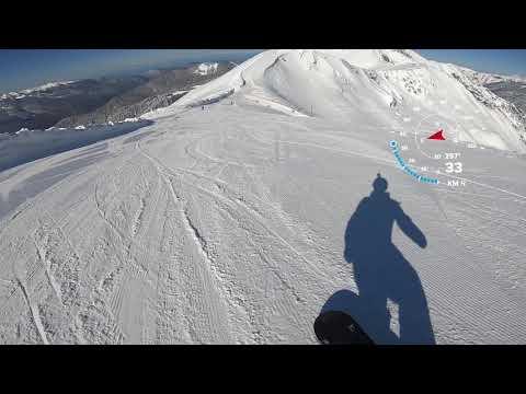 Альпика 2019г, скоростной спуск на сноуборде. 100 км\ч !!! Полный спуск с отметки 2256м.
