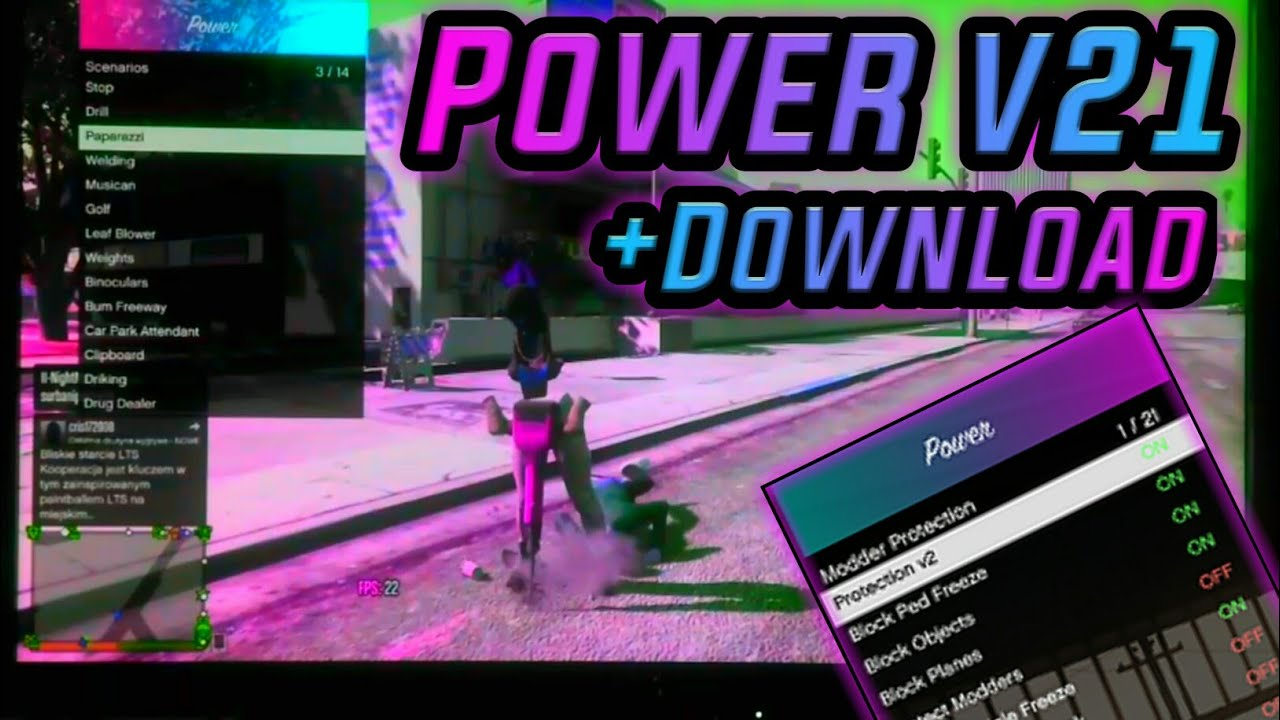 GTA V - MOD MENU POWER v21 |Frezze Console| IP Graber | Protection +DOWNLOAD