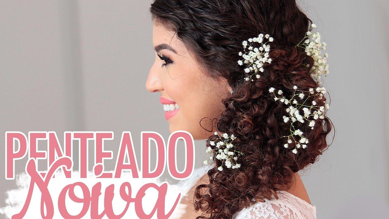 Penteado Noiva Cacheada Com Flores Por Jessica Melo
