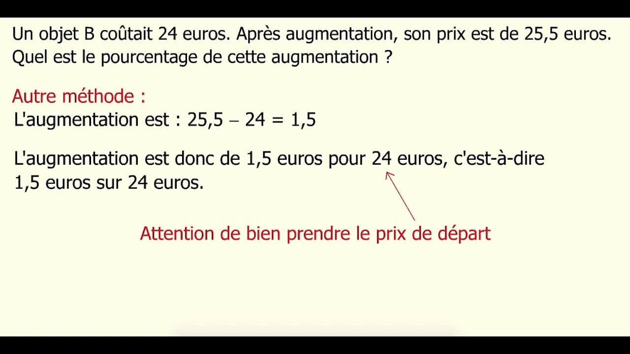 Calculer Un Pourcentage D Augmentation Youtube