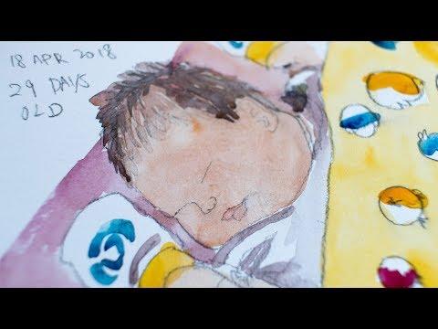 Sketching my baby daughter Tiffany