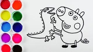 Repeat youtube video Dibuja y Colorea  George de Arcoiris - Dibujos de Peppa Pig - Videos Para Niños / FunKeep