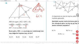 Açı Kenar Bağıntıları A+ testi (ACİL GEOMETRİ)