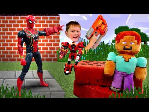 Стив Майнкрафт и Человек Паук против робота Металиона! – Видео игры для мальчиков.