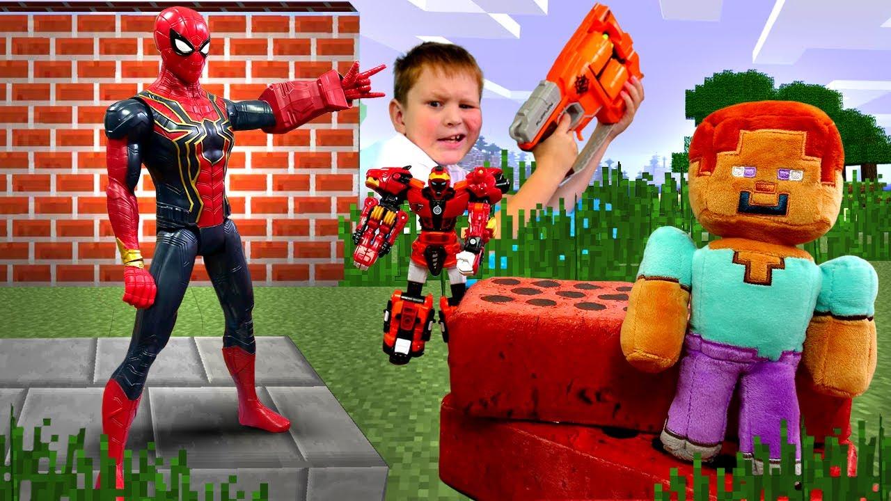 Стив Майнкрафт и Человек Паук против робота Металиона ...