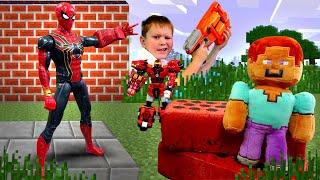 Стив Майнкрафт и Человек Паук против робота Металиона! Видео игры для мальчиков.