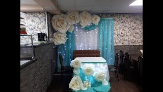 Оформление свадьбы большими цветами из изолона. Белые розы из изолона