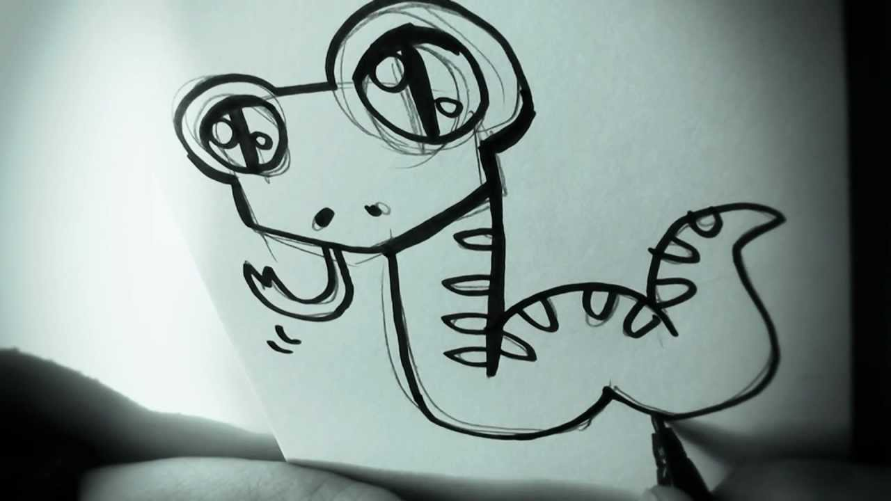 How To Draw A Cartoon Snake By Garbi KW, Easy Drawing