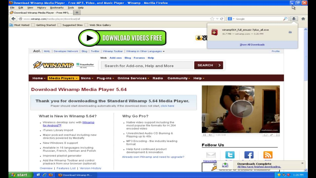 Download winamp player for win XP 32 bit for free (Windows)