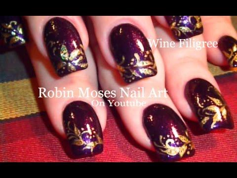Purple and Gold Filigree Nails | Dark Red Wine Nail Art ...