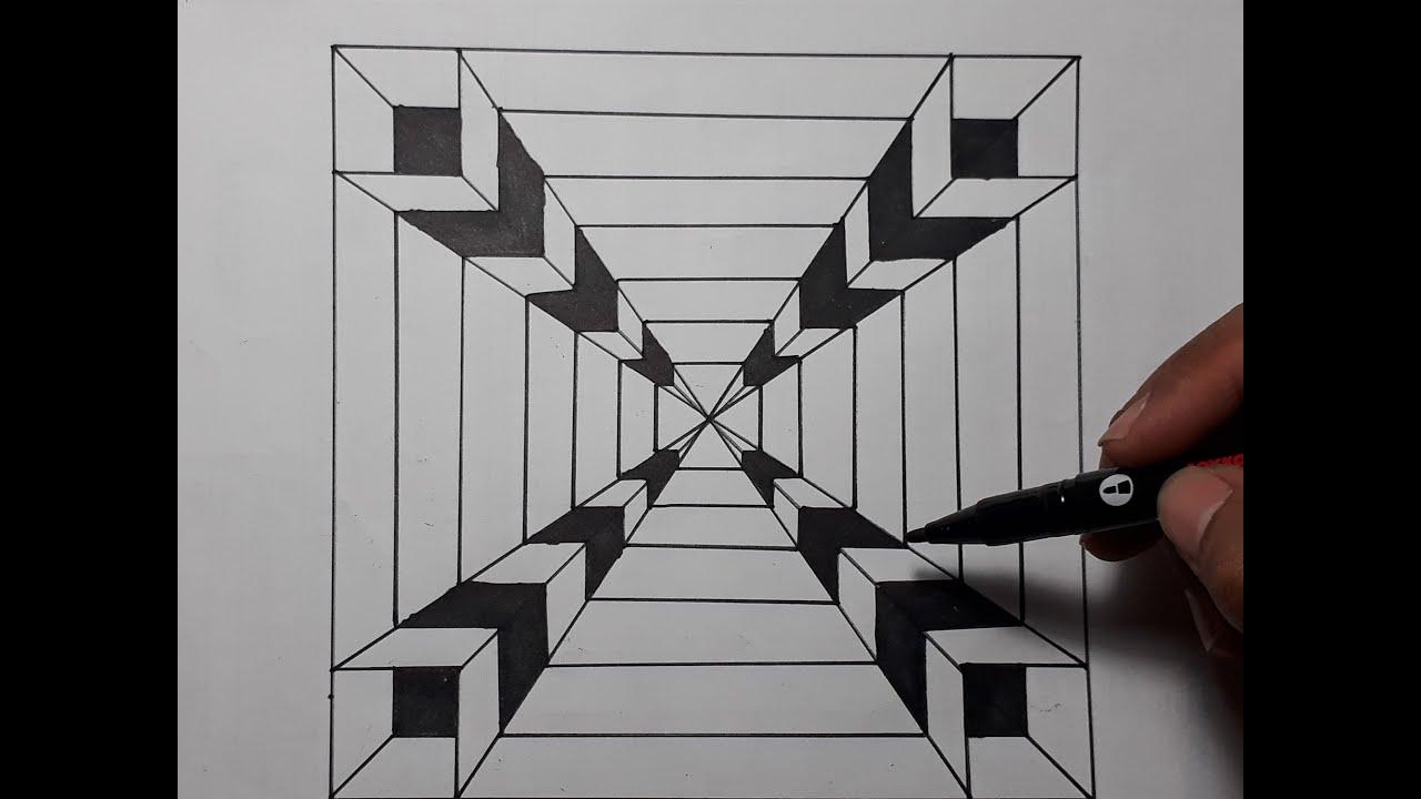 How to draw 3D - Cara gambar 3D cepat dan mudah untuk ...