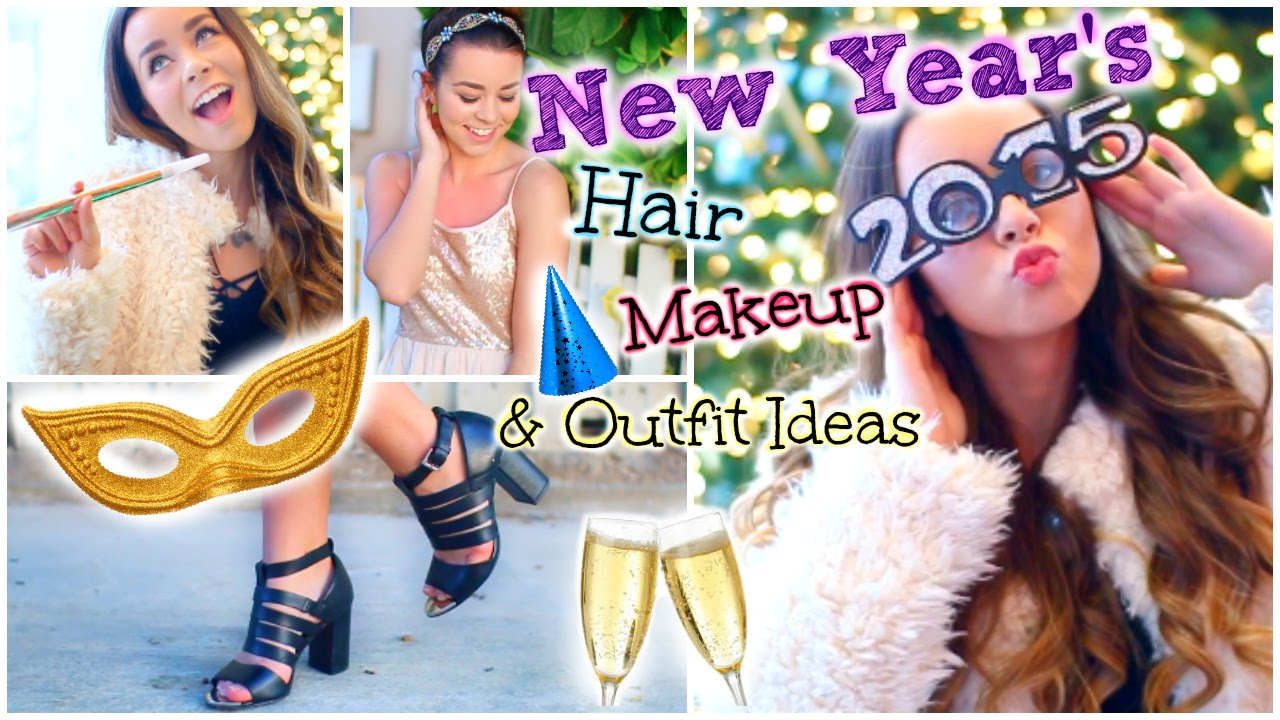 New Years Eve Party Hair Makeup 2 Outfit Ideas Youtube