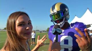 Rams WR Kenny Britt and his sweet visor with Brie Thiele at Training Camp