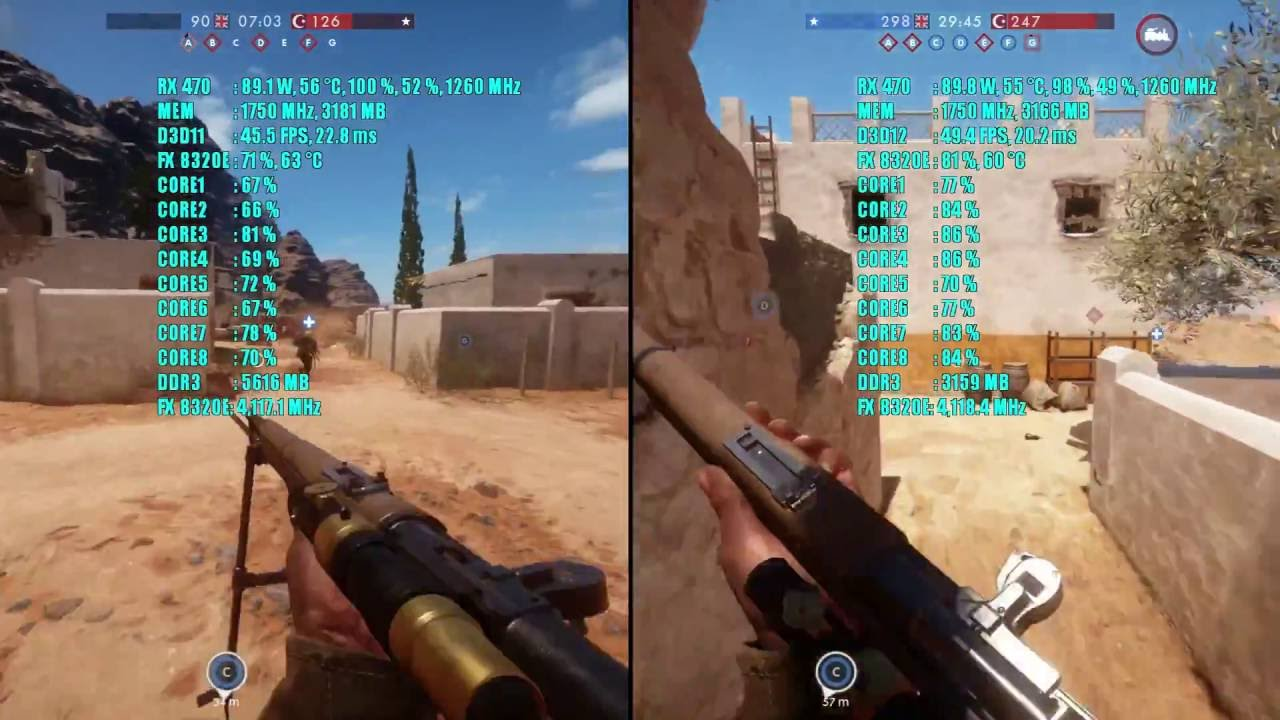 battlefield 1 dx11 vs dx12 rx 470 4gb fx 8320e 1080p ultra ssao frame rate test comparison youtube - fortnite dx11 vs dx12