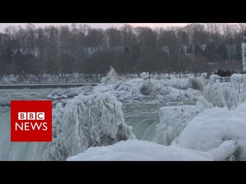 Niagara Falls becomes ice-covered spectacle - BBC News