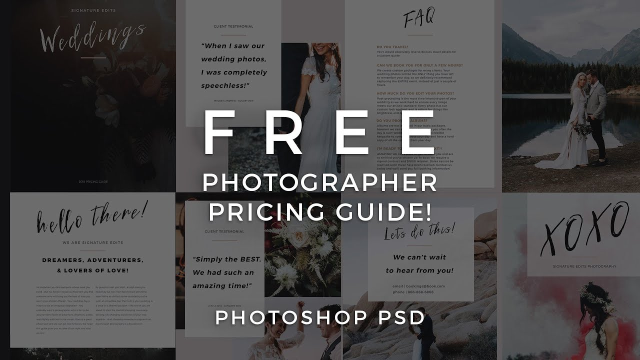Photographer Pricing Guide Template Free Photo Psd