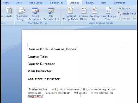 Create Document Template With Word Mail Merge Part 3 - Data Field - mail merge template