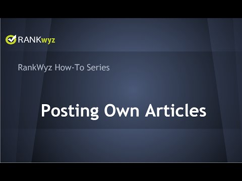 How to Post Own Articles