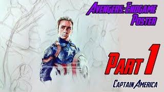 Drawing Avengers Endgame Poster : Part 1 | Captain America | Pencil Glue