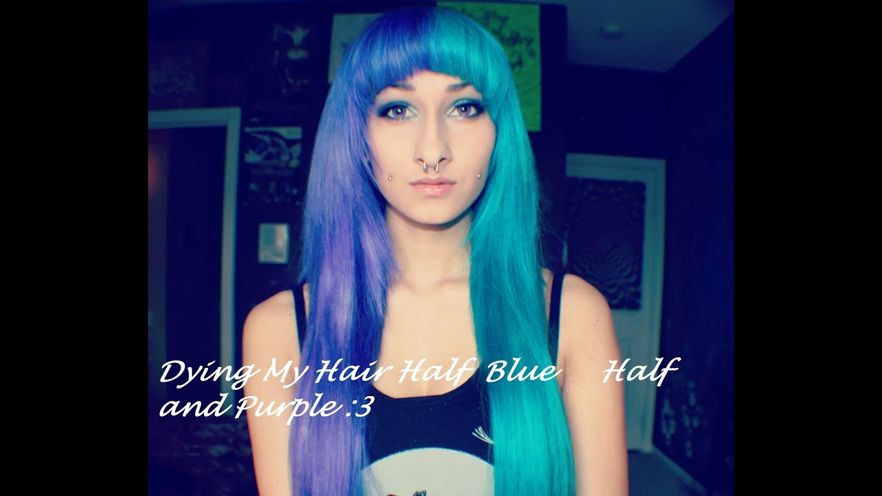 Dyeing My Hair Half Blue Half Purple :3