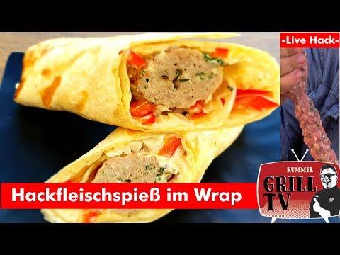 Hackfleisch Live Hack--Hackfleisch Spieß im Wrap Rummel Grill TV  UT: Deutsch