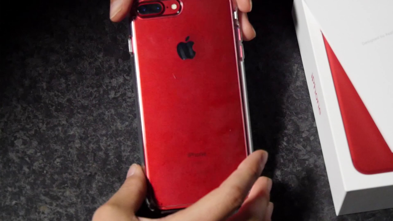 reputable site 34e11 d5264 iPhone 7 Plus RED spigen ULTRA HYBRID2 Crystal Clear