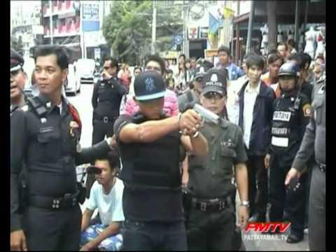 Police apprehend karaoke killer.