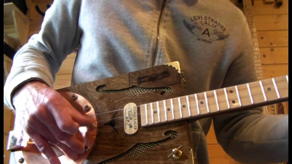 3 String Copper Cone Resonator Cigar Box Guitar By