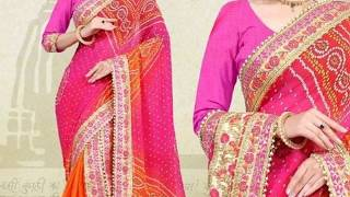 Printed Bandhani Sarees with Lace Border || Party Wear Collection (2019)