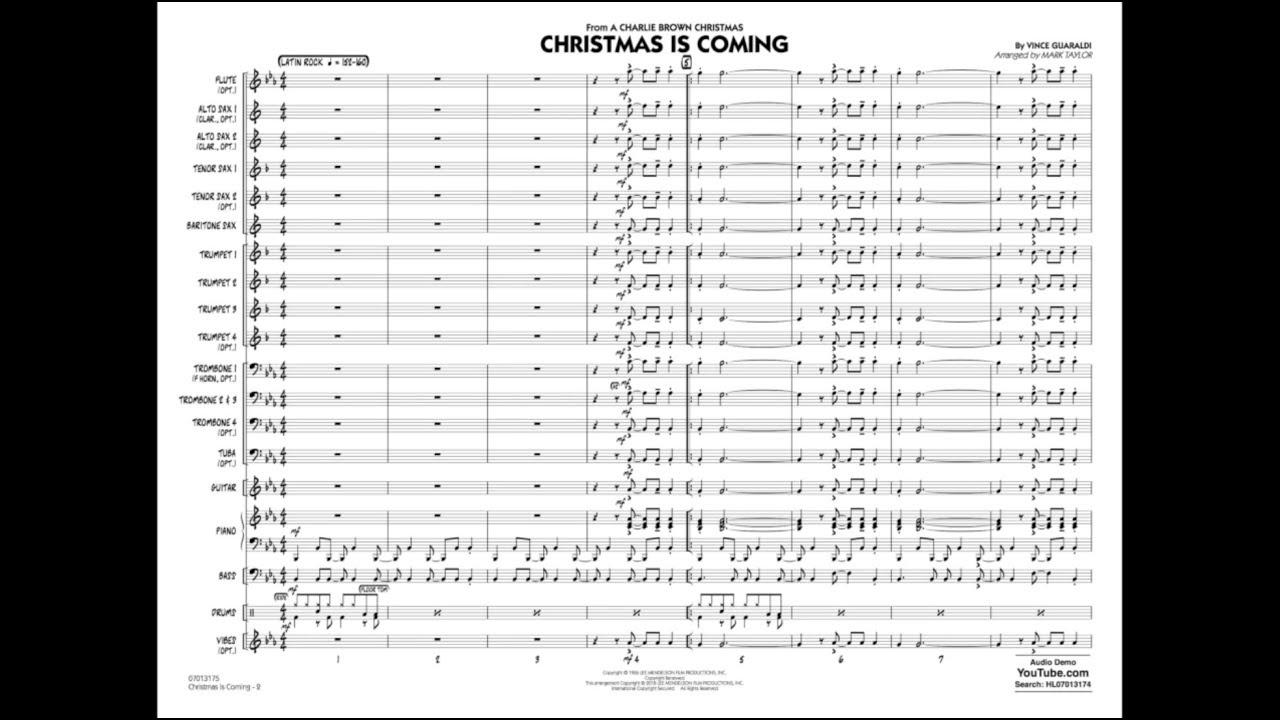 Vince Guaraldi Christmas.Christmas Is Coming By Vince Guaraldi Arr Mark Taylor