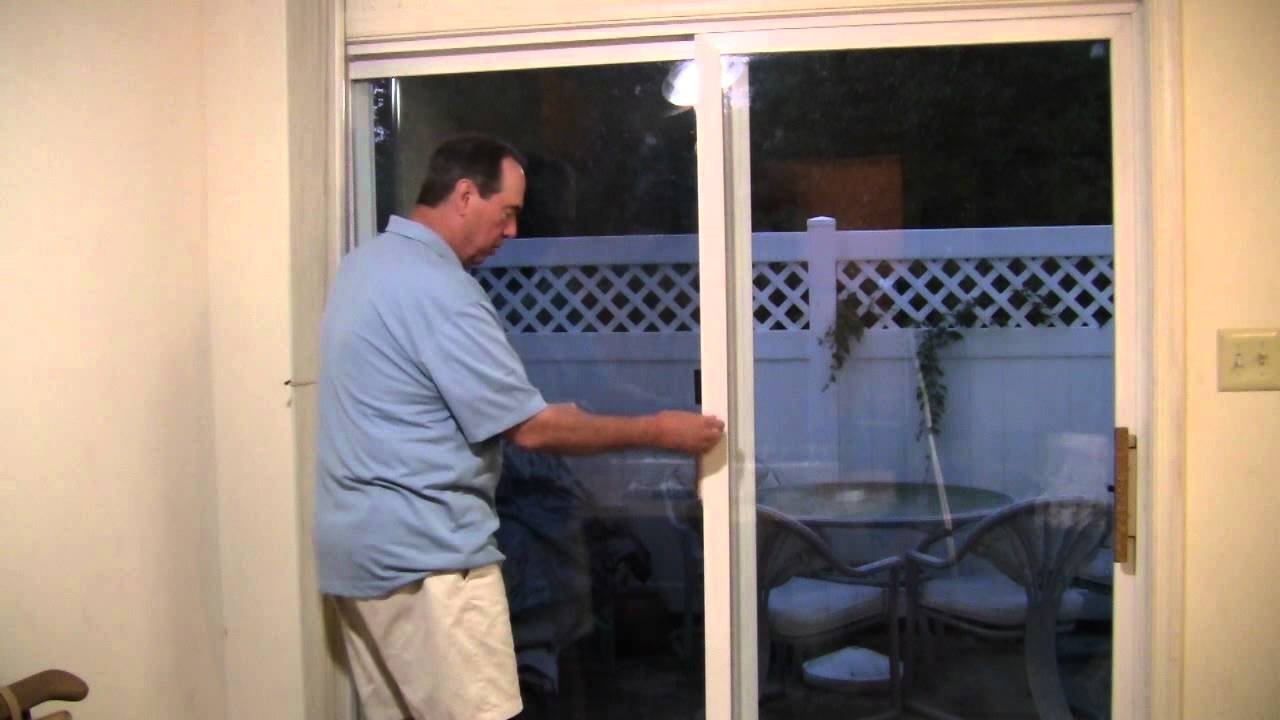 how to install a secure sliding patio door lock youtube. Black Bedroom Furniture Sets. Home Design Ideas