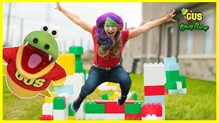 Building an Obstacle Course made of Giant Legos with Rainbow Rae