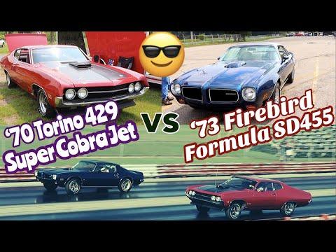 1973 Firebird SD455 Vs 1970 Torino Cobra Jet - PURE STOCK DRAG RACE (Best Of 3)