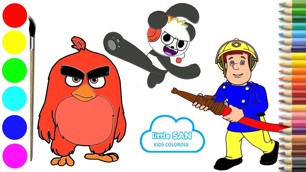 Angry Birds Combo Panda And Fireman Sam Drawing And Coloring Youtube