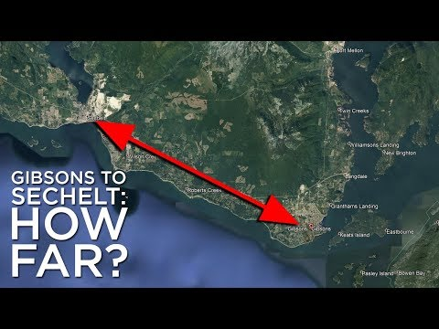How far is it from Gibsons to Sechelt?